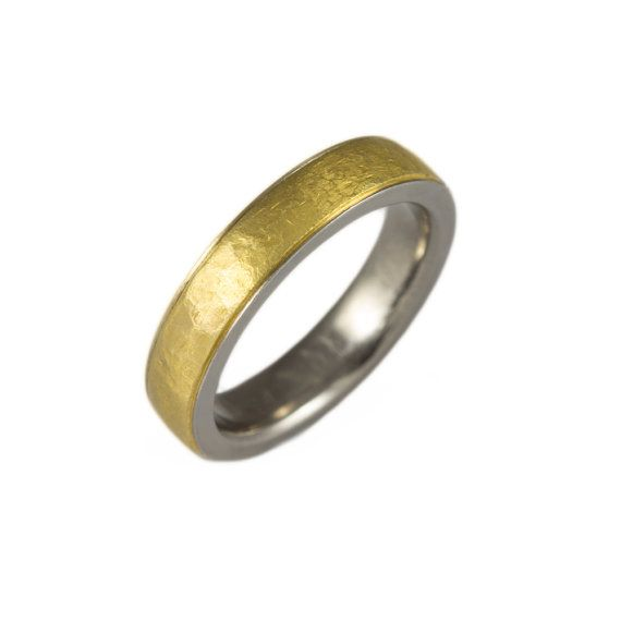 Men's wedding band. Pure gold 24K and pure titanium. Two tone, modern matte finishing. Comfort fit. Very stylish man's wedding ring, unisex. on Etsy, $995.00
