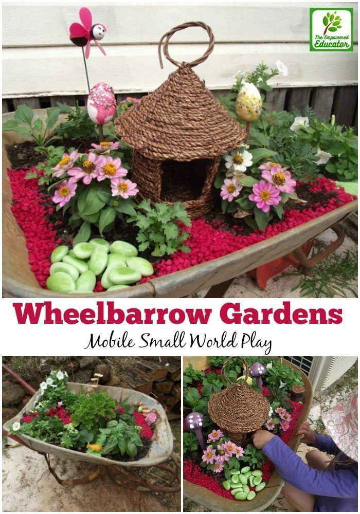 create sensory small worlds and fairy gardens you can move all around the outdoor play space