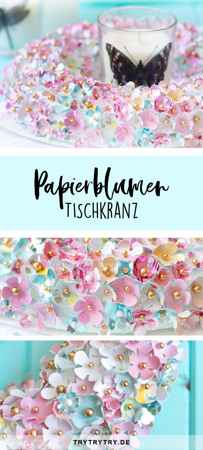 Photo of DIY decoration – paper flower table wreath. Creative decoration idea for summer, east …