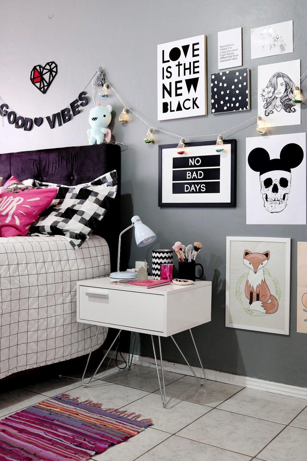 Dormitorio con pared gris cuadros en los mismos tonos y for Ejemplo de dormitorio deco