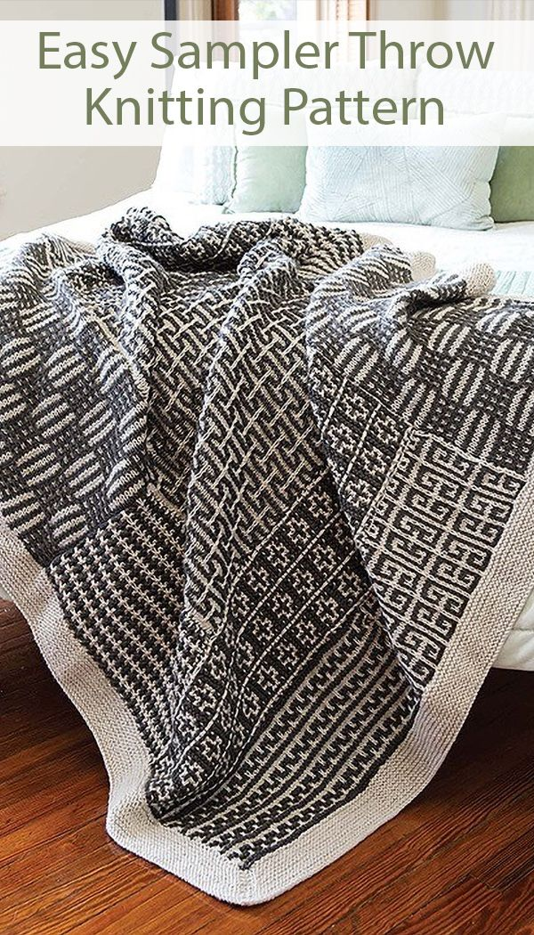 Photo of Easy Knitting Pattern for Sampler Throw – 2 color blanket with 6 different mosaic patterns