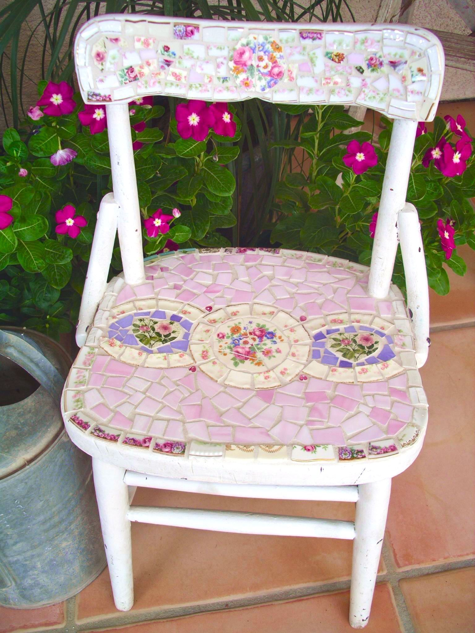 Mosaic old childus chair with stained glass and vintage china