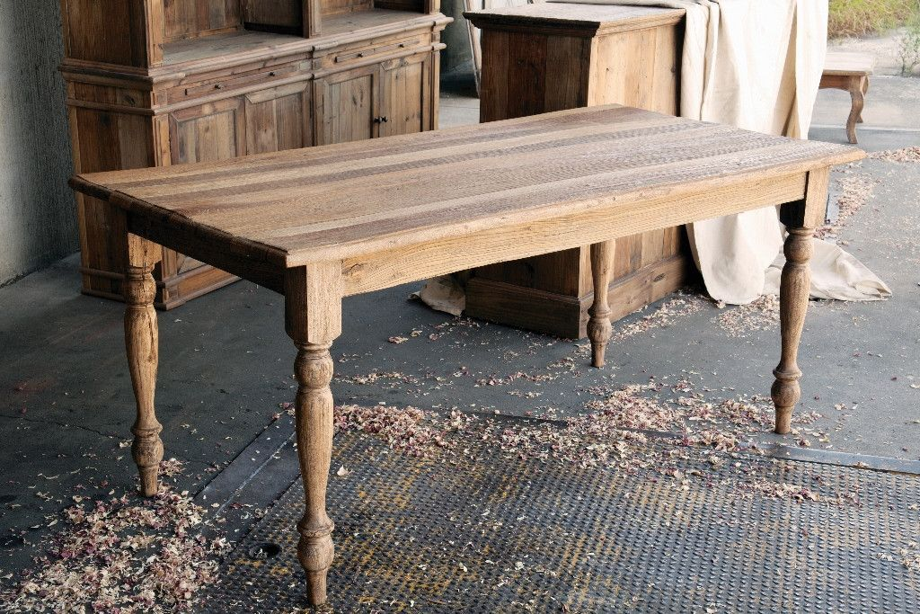 Sturdy Built Farm Style Table Made From Reclaimed Elm Lumber