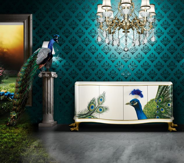 Peacock Airbrush Design. Jetclass Design Luxury Furniture