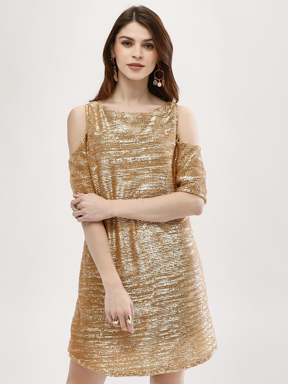 Buy Cold Shoulder Sequin Dress For Women Women S Gold Shift Dresses Online In India Dresses Womens Dresses Sequin Dress [ 1440 x 1080 Pixel ]