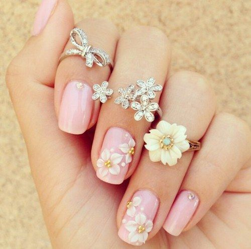 Nail Accessories Nails Flowers Cute Girly Pink Polish And Rings Jewels Diamonds Flower Ring Charming Pretty Style Color