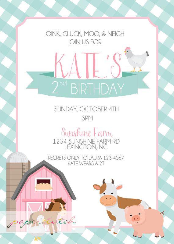 Pink Barn Farm Birthday Invitation Barnyard By PaperclutchShop 2nd Party Themes Animal