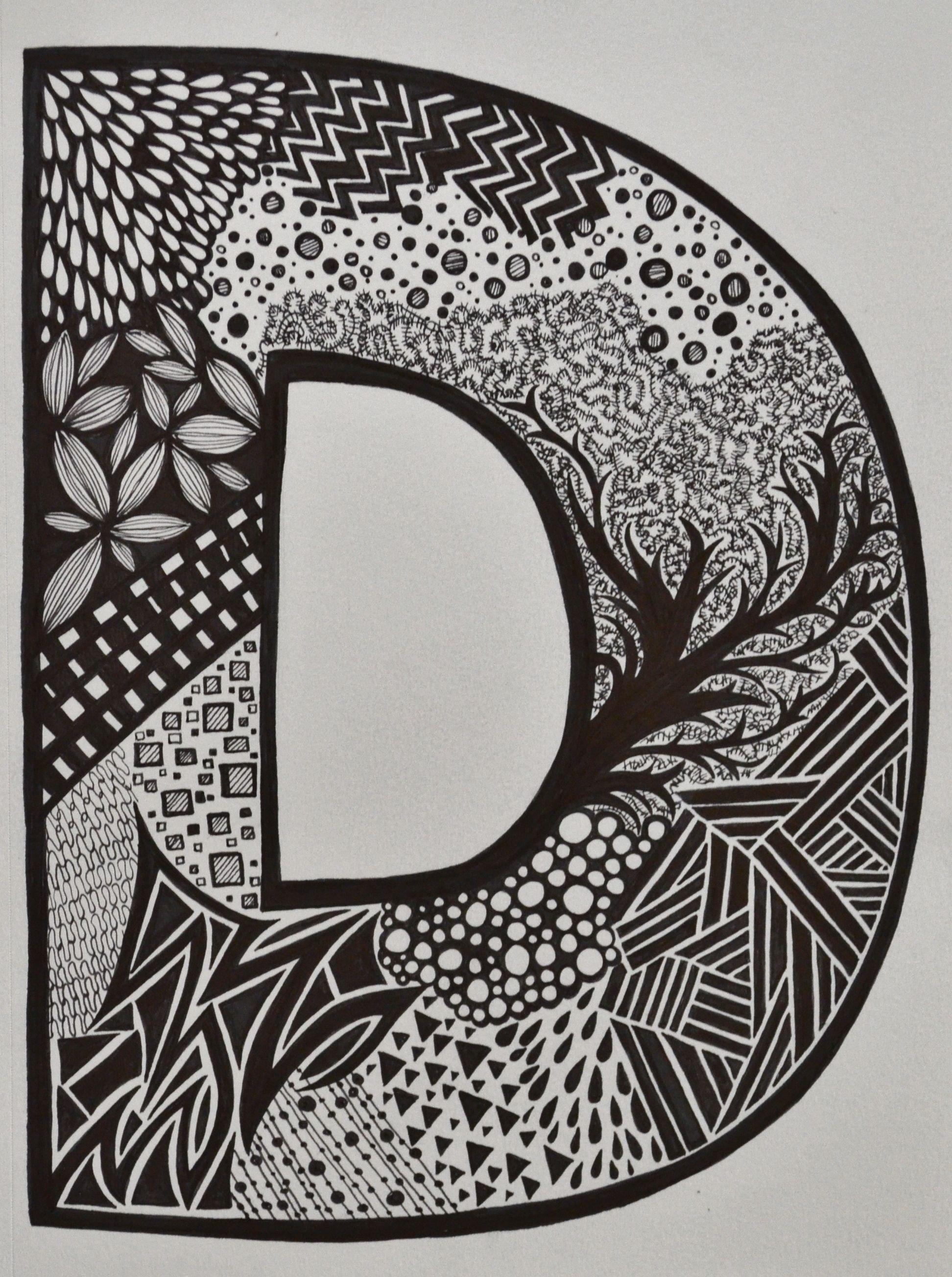 Letter D - sharpie art - SF