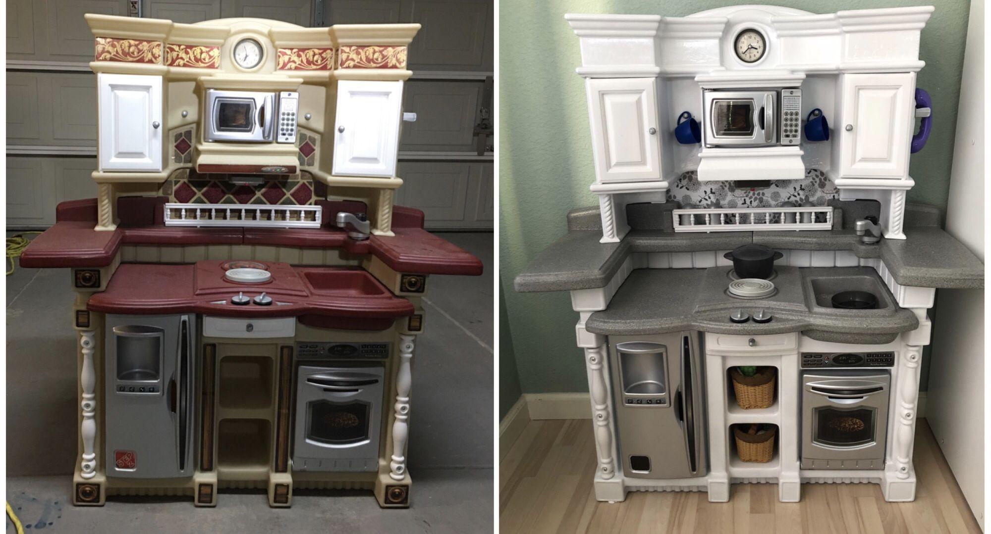 Step 2 plastic play kitchen makeover diy paint Kitchen