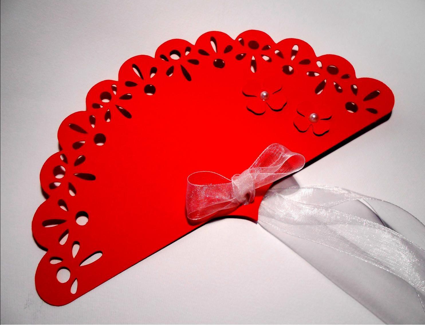 ventaglio in rosso e pizzo con nastro in organza e fiori con perlina ...