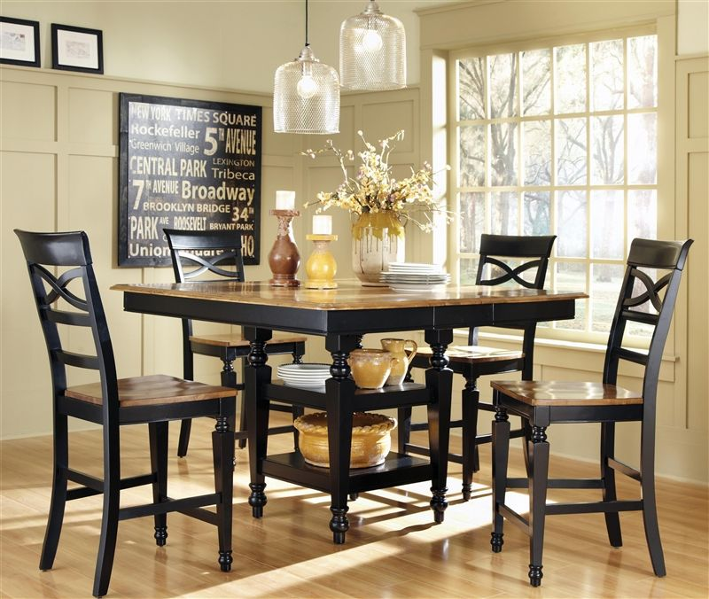Ashley 5 Piece Counter Height Dining Set In Two Tone Black And Oak