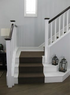 White Painted Laminate Stairs With Dark Brown Carpet Runner Home Improvements In 2018