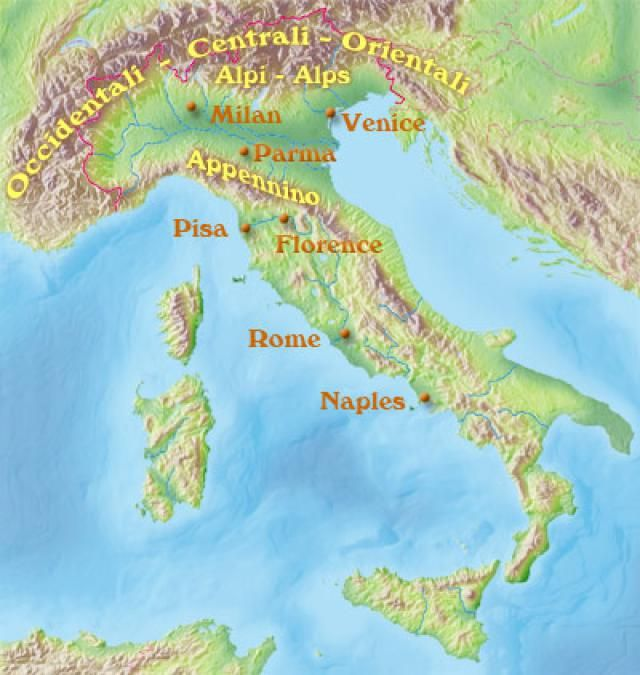 Map Of Italy With Mountains.Italian Geography Map Facts And Climate In 2019 Topography