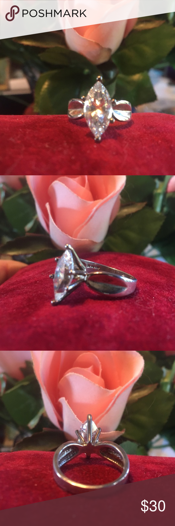 Marquis CZ silver ring Brand new/ never worn .925 silver ring with large 1.5x.6 cm CZ marquis stone with very nice sparkle! 16 mm/ size 5 ring Jewelry Rings