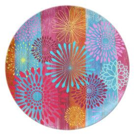 Pretty Bold Colorful Flower Bursts on Wide Stripes Party Plate