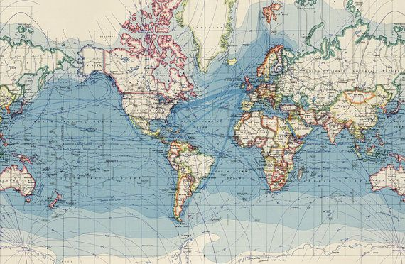 World map printable digital downloadntage world map old maps epic posters of world surface routes by vintage maps x gumiabroncs Gallery