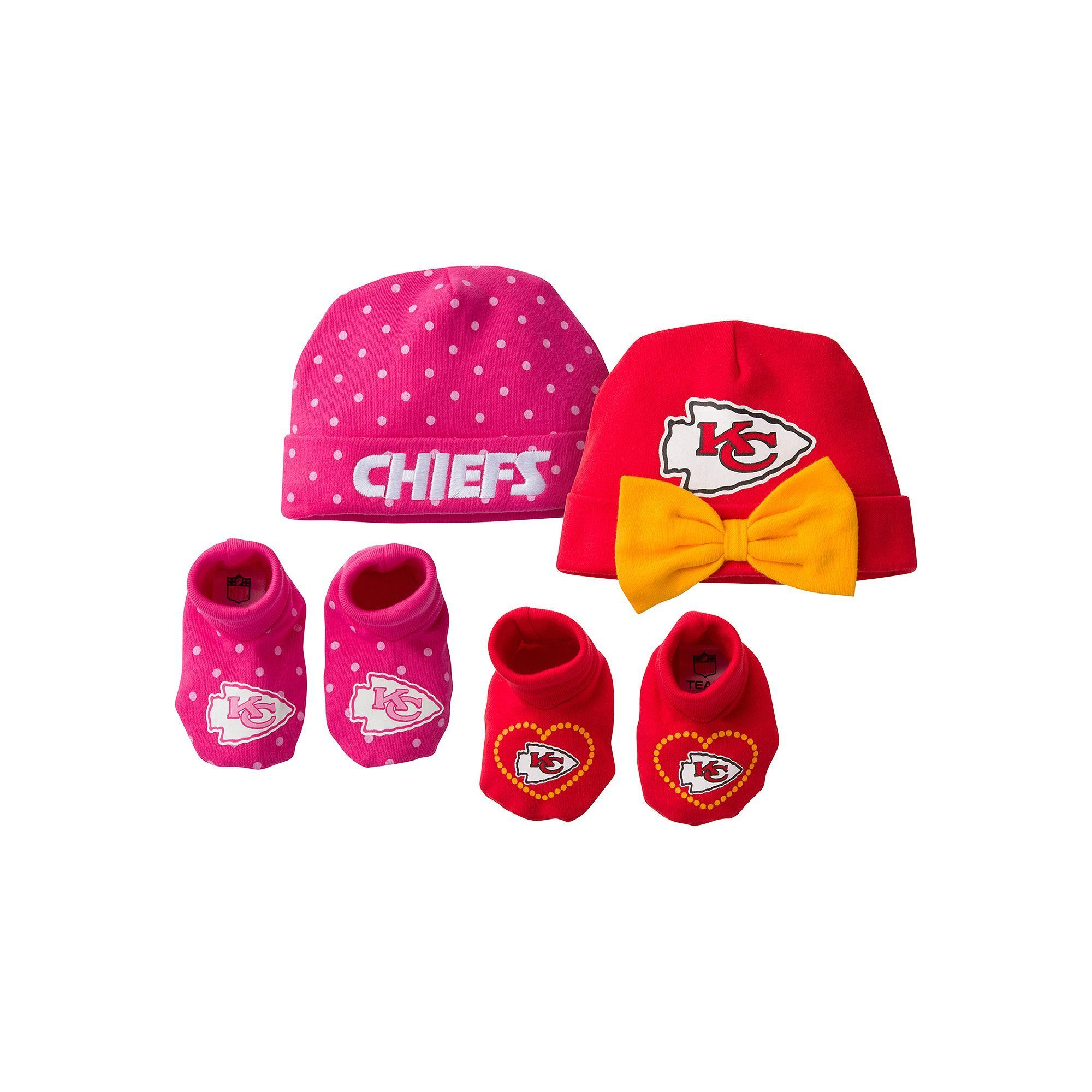 Baby Girl Kansas City Chiefs 4-Piece Cap   Crib Shoes Set  705ebd723