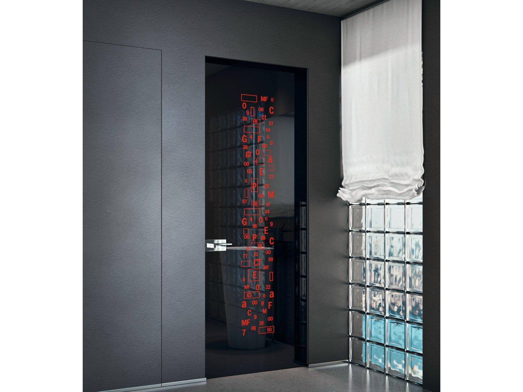 puerta batiente a ras de pared de vidrio sin marco vitrumline coleccin vitrum