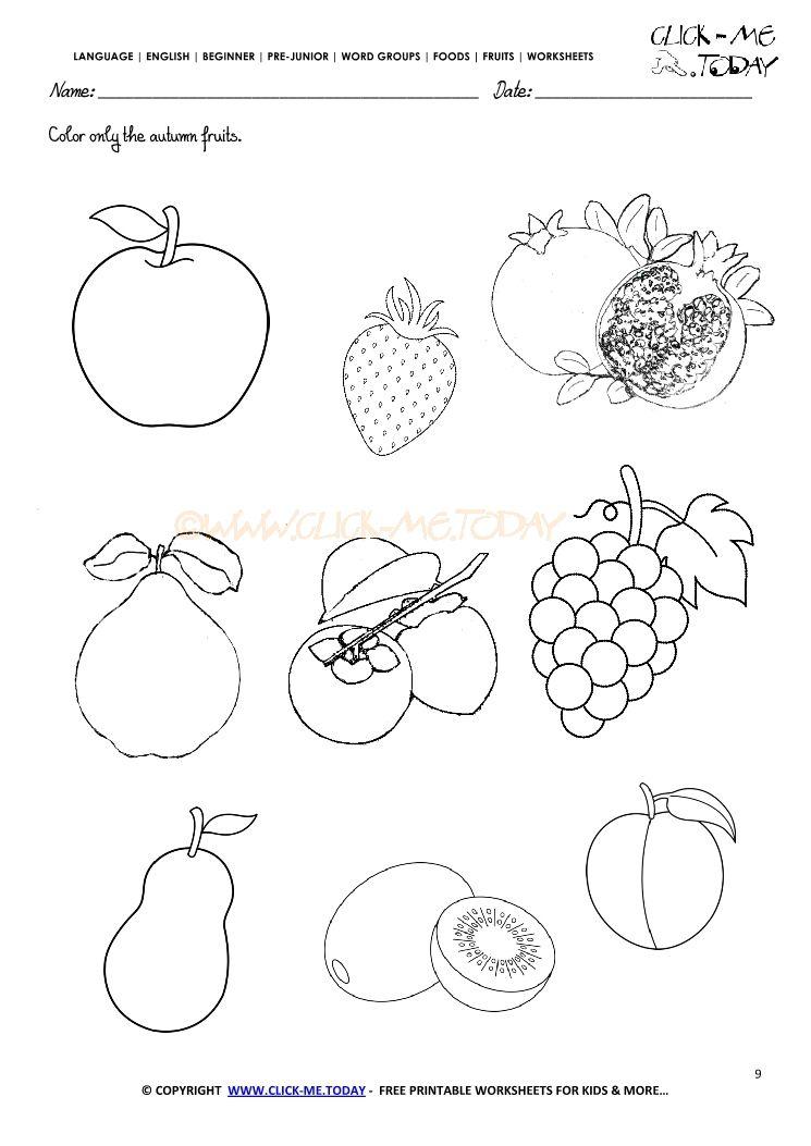 Fruits Worksheet 9 Color Only The Autumn Fruits Kindergarten Worksheets Art Worksheets Printables Wristband Template
