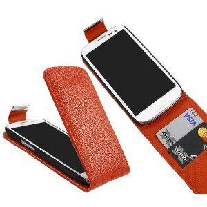 iTALKonline ROSSO FlipMatic Easy Clip On verticale Custodia flip Coprire con porta carte di credito per Samsung i9300 Galaxy S3 III