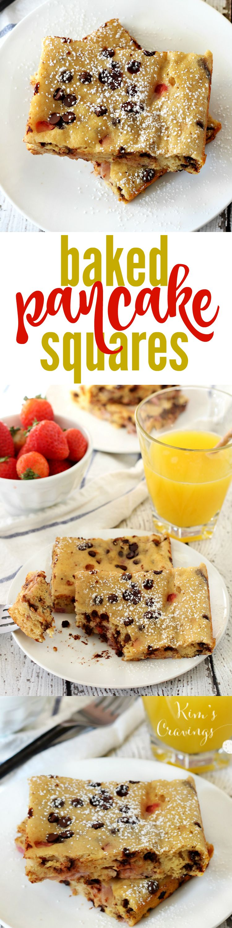 It's the pancake recipe for those of us that have no patience for flipping- Baked Strawberry Chocolate Chip Pancake Squares are super easy to make and your kiddos will jump up out of bed for this deliciousness.