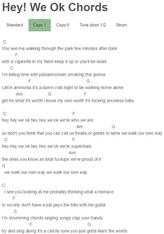 Hey! We Ok Chords Never Shout Never | Ukes | Pinterest | Songs ...
