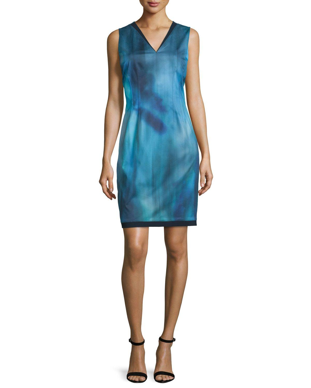 Emory Sleeveless Printed Sheath Dress, Dark Refresh - Elie Tahari