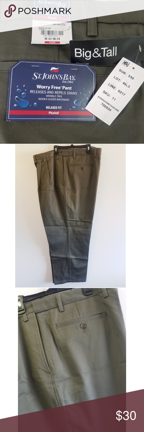 81c24efafd St. John's Bay Big & Tall Pleated Pants Dark olive green pleated slacks. Worry  free pant. Releases and repels stains. Wrinkle free. Hidden slider  waistband.
