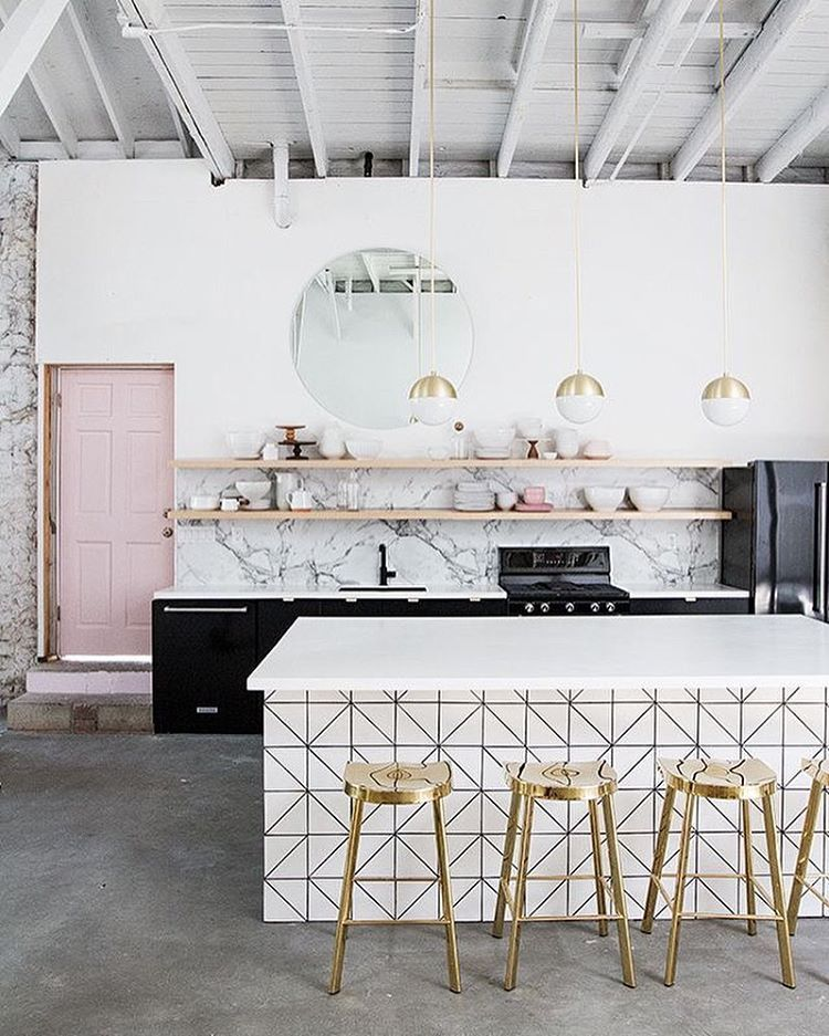 Gold marble white pastel geometric all the things we love reunited in one kitchen for the interior of our dreams
