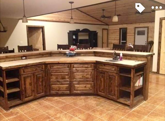 Knotty Alder Cabinets With Medium Dark Stain For The