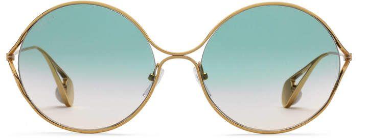 9d280efdcf Gucci Round-frame metal sunglasses