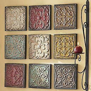 9 Piece Embossed Wall Art Set From Through The Country Door Wall Decor Design Wall Art Sets Antique Ceiling Tile