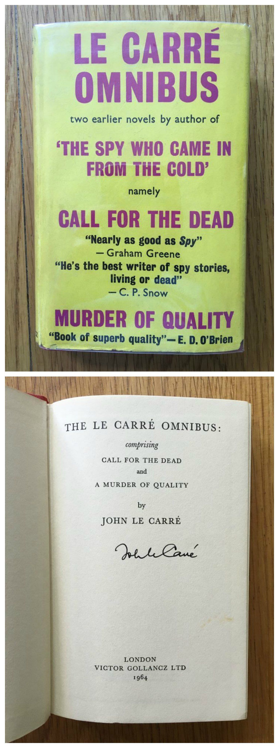 Signed edition of Le Carre's Omnibus including three of his biggest novels.