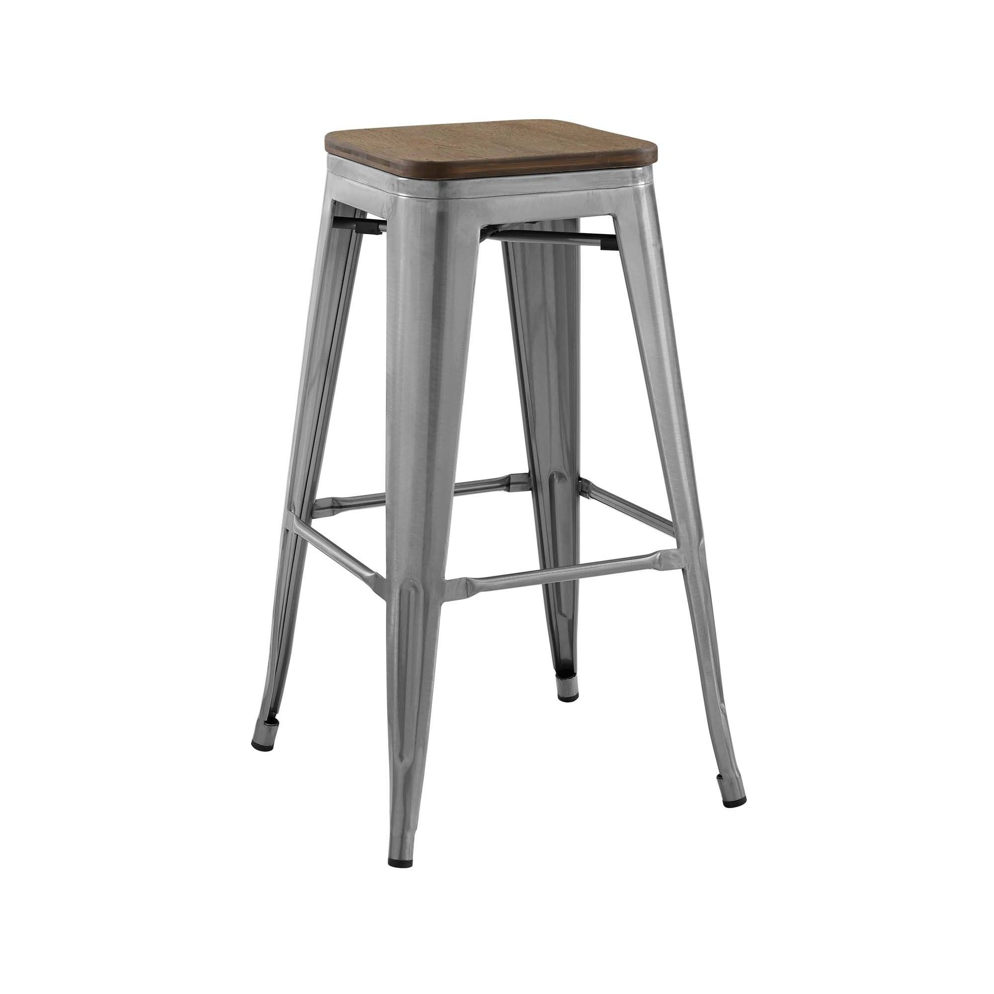 Fine Promenade Bar Stool Silver Modway Products Grey Bar Gmtry Best Dining Table And Chair Ideas Images Gmtryco