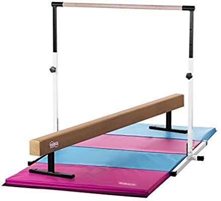 2da6e0dfa62d Nimble Sports Little Gym - White Adjustable Horizontal Bar, Tan Suede  Balance Beam, Pink and Light Blue Gymnastics Mat