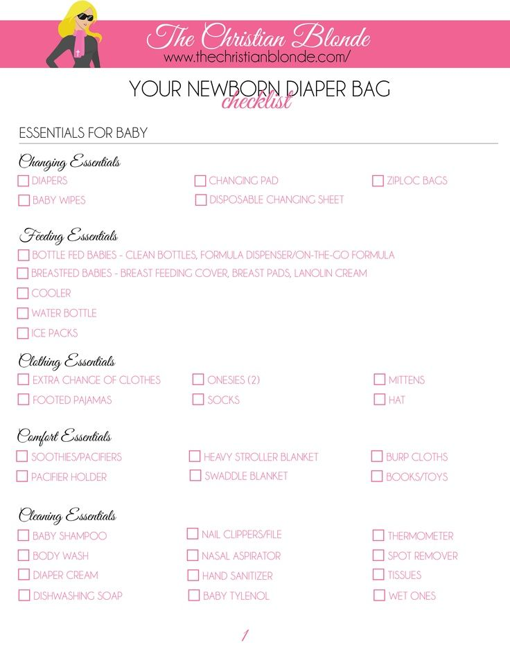 Link http\/\/thechristianblonde\/diaper-bag-checklist-newborn-2 - newborn checklist