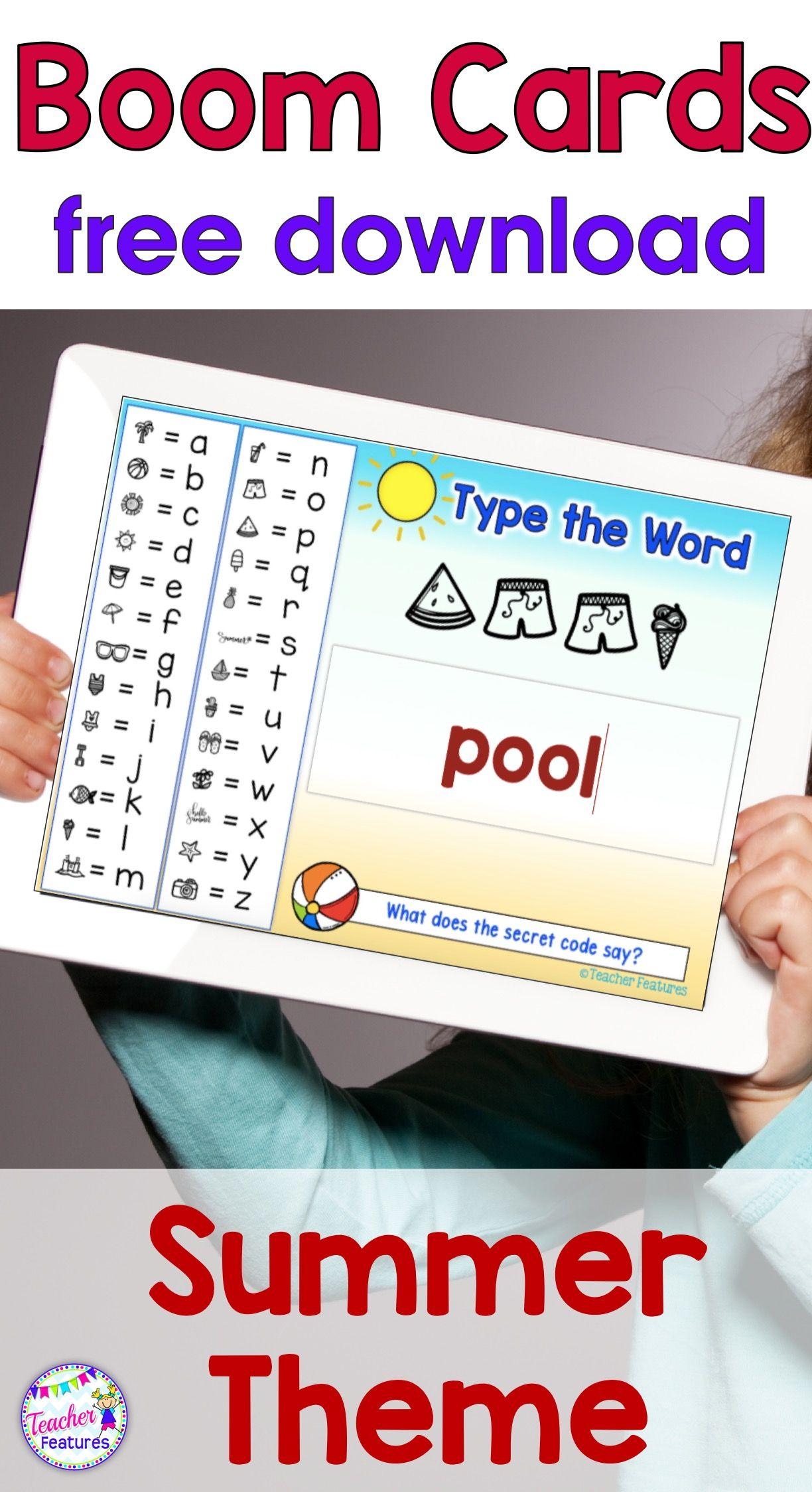 Boom Cards Distance Learning Summer Secret Code Words