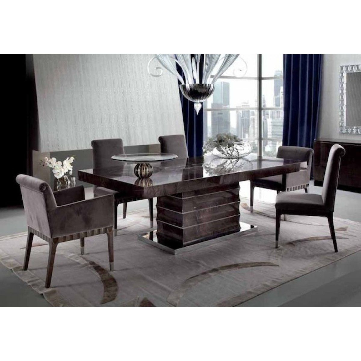 Giorgio Collection Absolute Dining Set An Art Deco Inspired Beautifully Crafted Italian High Gloss