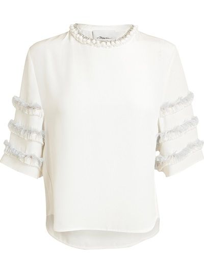 e4a304b4e2a0 3.1 PHILLIP LIM Embellished Fringed T-Shirt   spring summer 2014 ...