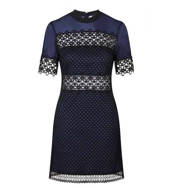 TopShop Geo Lace Mesh a-Line Dress (105 AUD) ❤ liked on Polyvore featuring dresses, navy blue, lace dress, geometric print dress, geometric lace dress, navy dress y mesh dress