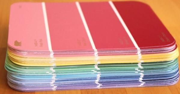 She Collects Hundreds Of Paint Chips Then Transforms Them Into Paint Chip Crafts Paint Samples Crafts Paint Sample Cards