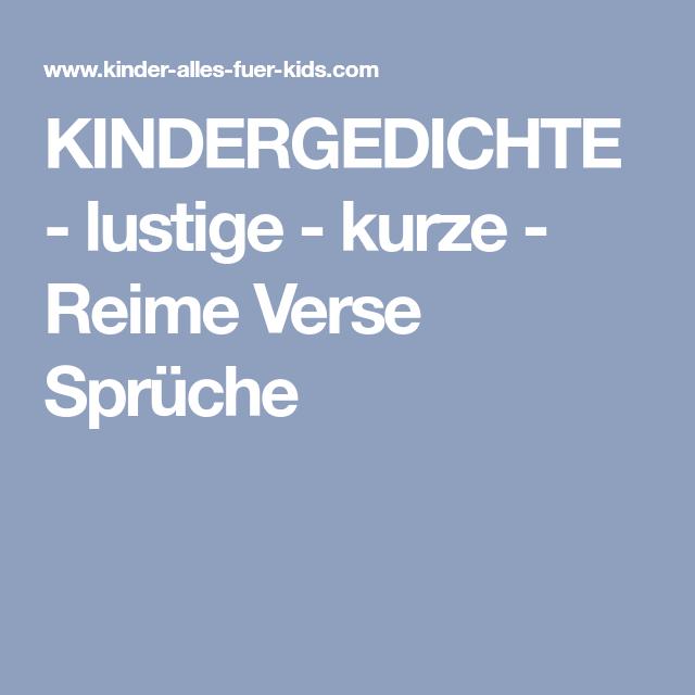 KINDERGEDICHTE - lustige - kurze - Reime Verse Sprüche