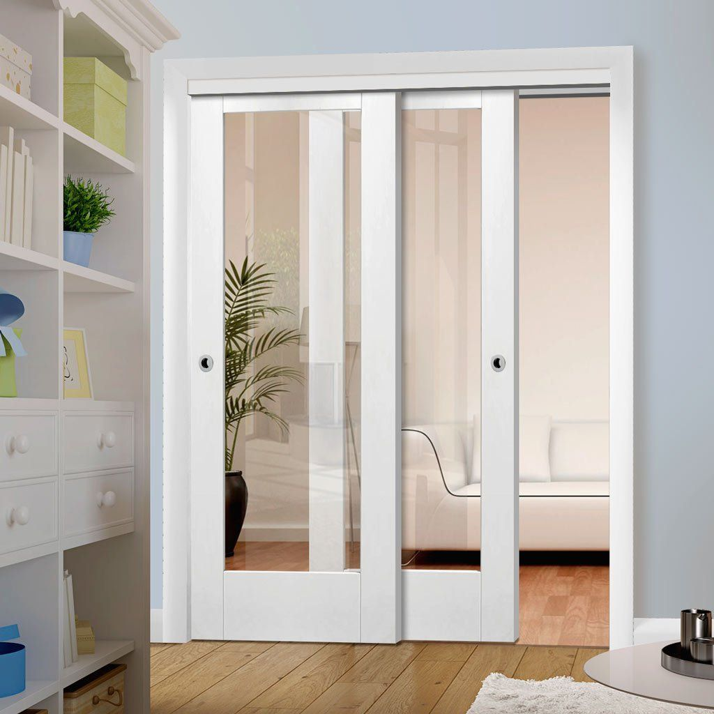 Two Sliding Doors And Frame Kit Pattern 10 1 Pane Door Clear Glass In 2020 Glass Closet Doors Sliding Doors Interior Sliding Doors