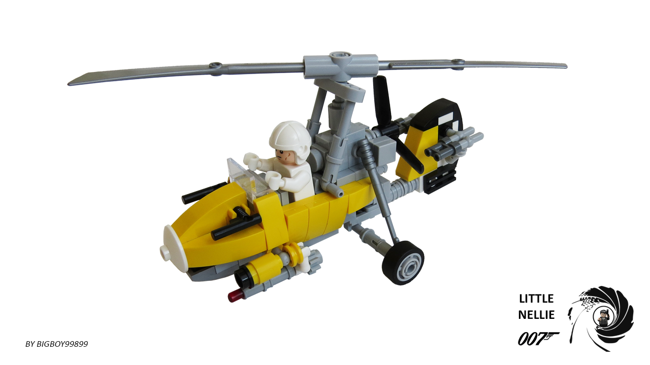 Lego Autogyro WA Little Nellie From The James Bond Film - Giant lego vehicles have been appearing on the streets of ancient rome
