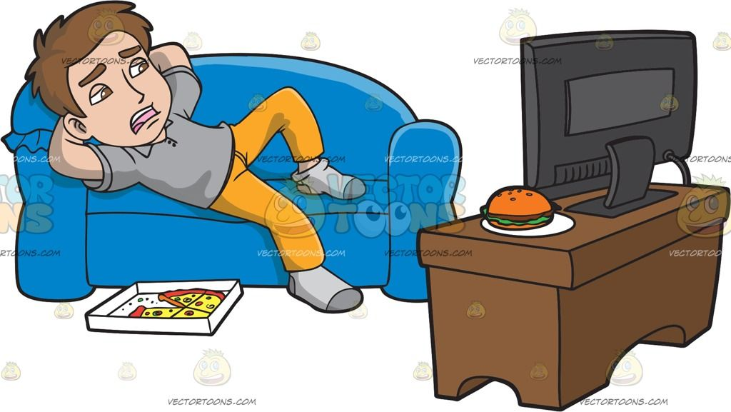 A Lazy Man Watching Tv After Eating Pizza With Images Eat