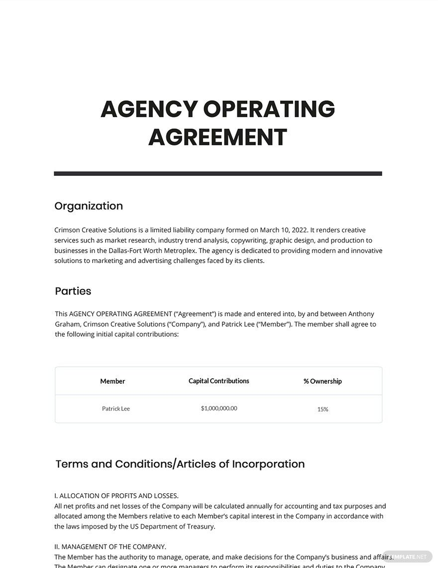 Sample Agency Agreement Template Free Pdf Word Template Net Agency Agreement Templates