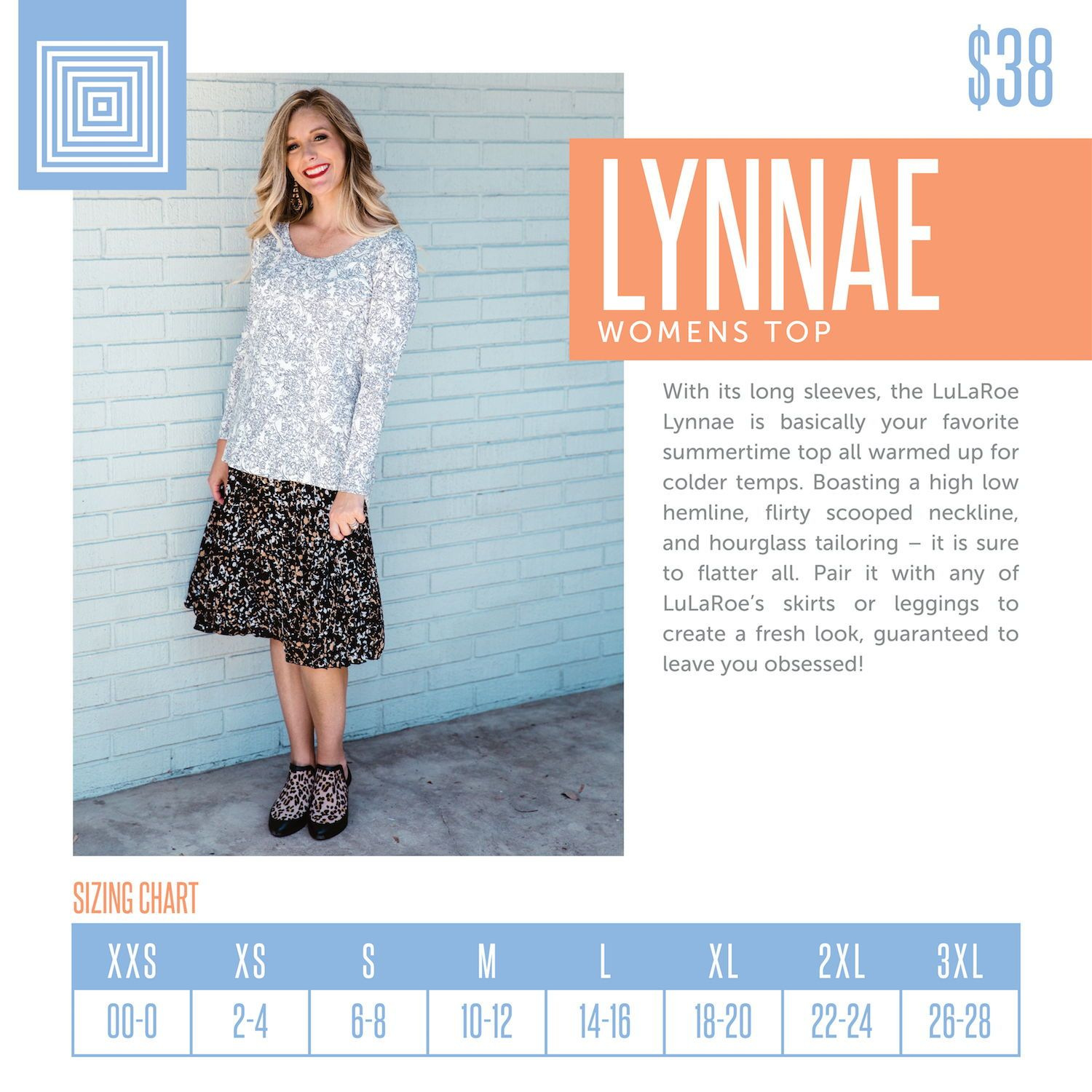 4963facbce6eff Women s LuLaRoe Lynnae Top Size Chart including 2018 updated pricing.   lularoe  lularoeretailer