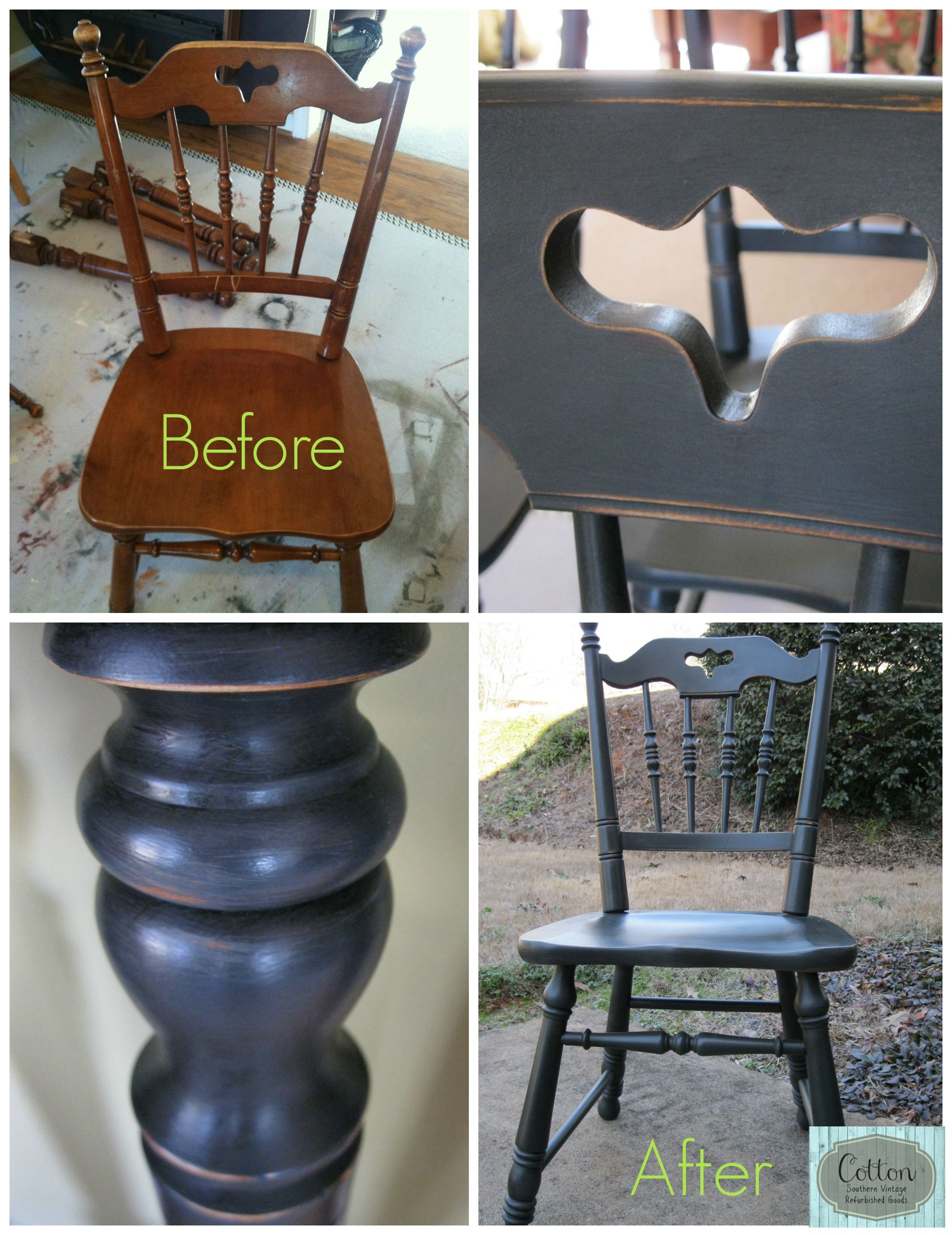 Before And After Of Dining Chairs Transformed From Maple Color To
