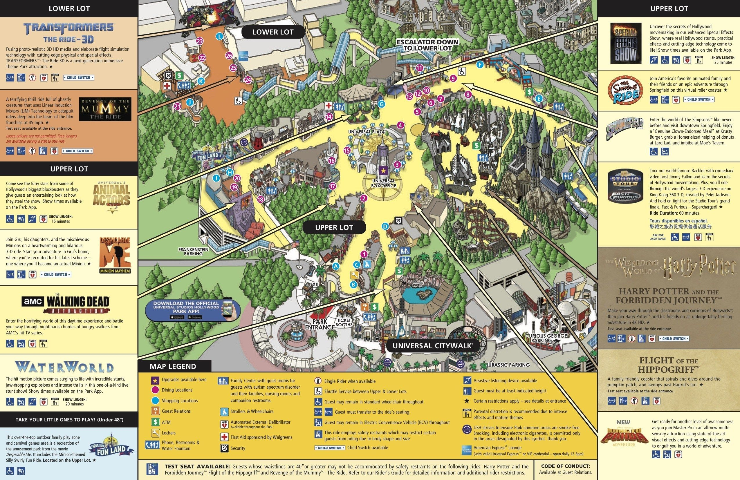 Universal Studio California Map Universal Studios Hollywood Park Map   Guide maps online