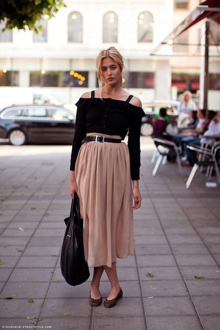Women's Black Off Shoulder Top, Beige Pleated Midi Skirt, Dark ...